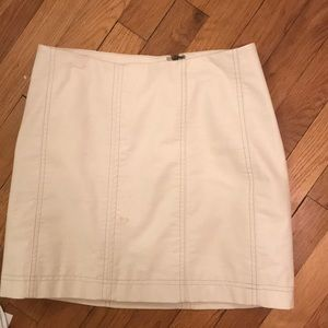 free people white leather skirt